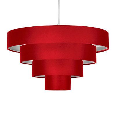 Modern red fabric 4 tier round ceiling pendant light lamp shade modern red fabric 4 tier round ceiling pendant light lamp shade lampshade lights mozeypictures Images