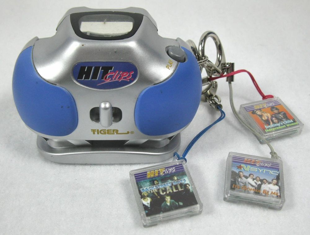 Vintage Tiger Electronics Hit Clips Music Blue/Silver Boom Box Player + 3 Clips #TigerElectronics