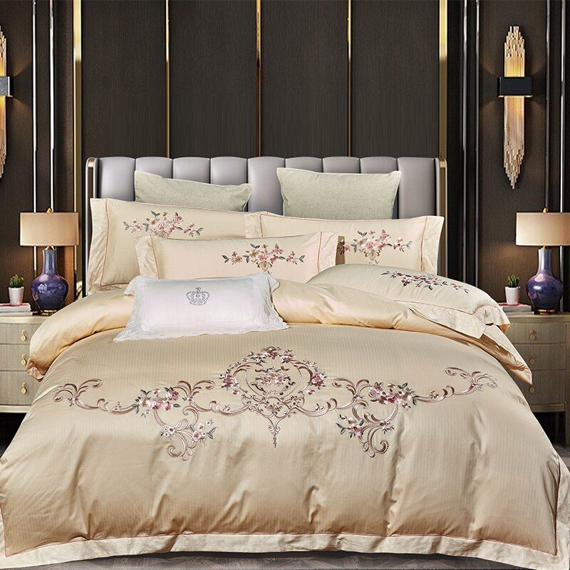 New Luxury 100 Pure Cotton Satin Bedding Set Egyptian Cotton Embroidery Duvet Cover Cotton Bed Linen Fitted Sheet Duvet Cover Sets Satin Bedding Duvet Covers
