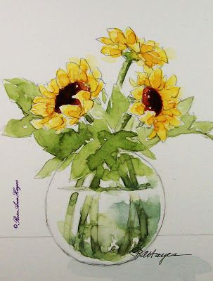 Watercolor Paintings By Roseann Hayes Sunflower Watercolor