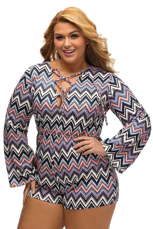 d83d4be9d78 Women s Plus Size Floral Print Deep V Lace-up Long Sleeve Jumpsuit ...