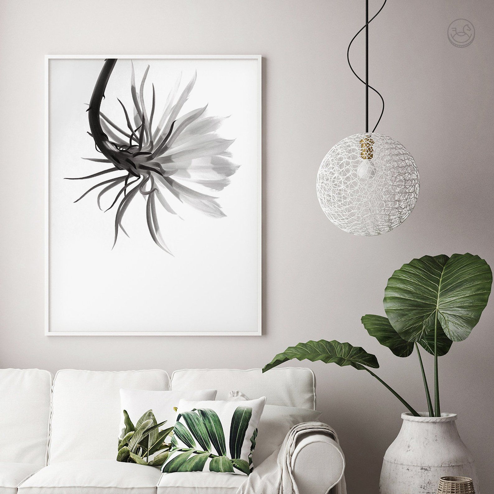 Minimal floral print printable wall art photography black and