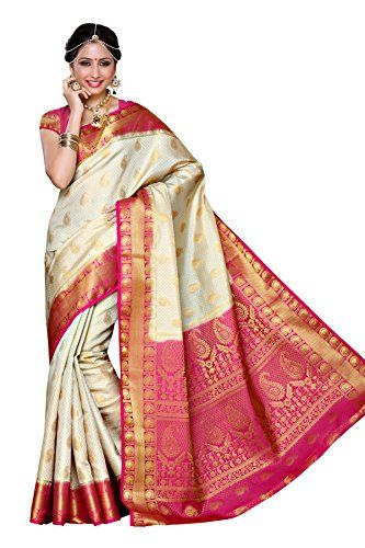 8f37b0ef636 Mimosa Womens Traditional Art Silk Saree Kanjivaram Style With Blouse  Color Off White(3300-225-HWT-RNI)