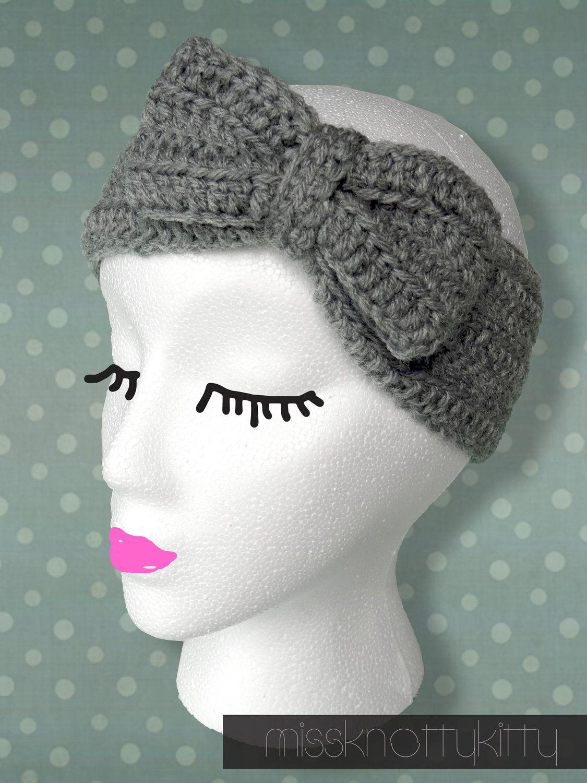 Crochet Bow Headband/Ear Warmers. | Balacas Diademas | Pinterest ...