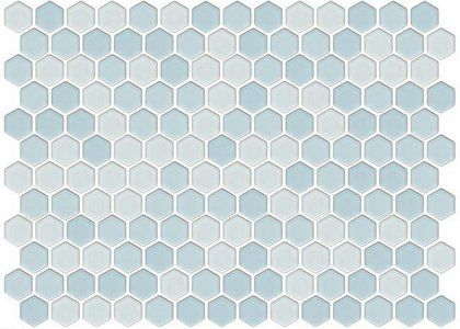Lyric 1 X 1 Glazed Porcelain Mosaic Hex Tile In Drift Blue Blue Mosaic Tile Porcelain Mosaic Porcelain Mosaic Tile