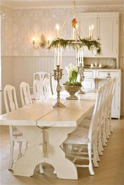 Decorazioni tavola di Natale in stile shabby chic | Sala ...