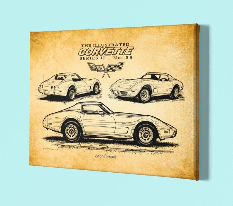 1977 Corvette Canvas Wrap Stingray 12x18 Or 16x24 Chevrolet Etsy Car Guy Gifts Corvette Art Man Cave Art