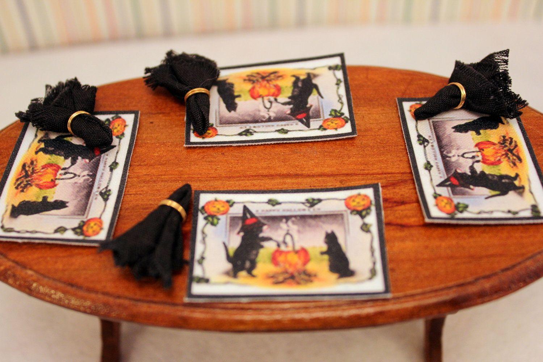 Miniature Halloween Placemat Set with Door Mat Dollhouse