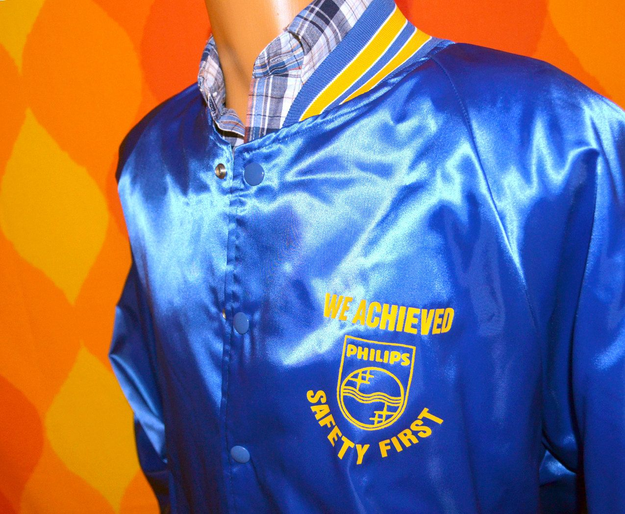 vintage 80s satin baseball jacket SAFETY FIRST stripe raglan blue ...