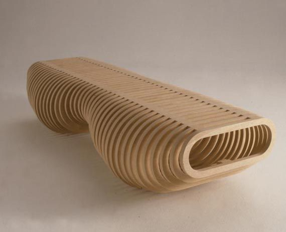 Unique Plywood Bench Design Furniture With Organic Shape Ideas