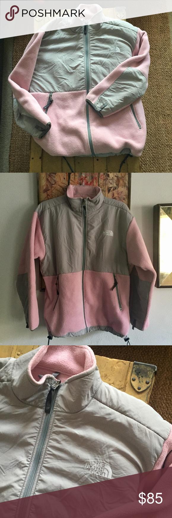 North face pink gry full zip fleece jacket coat s smoke free face