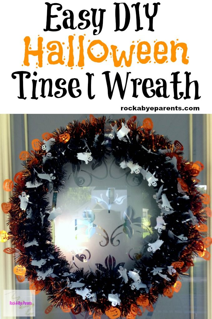 Easy DIY Halloween Tinsel Wreath Wreaths, Decoration and Doors - cheap easy diy halloween decorations