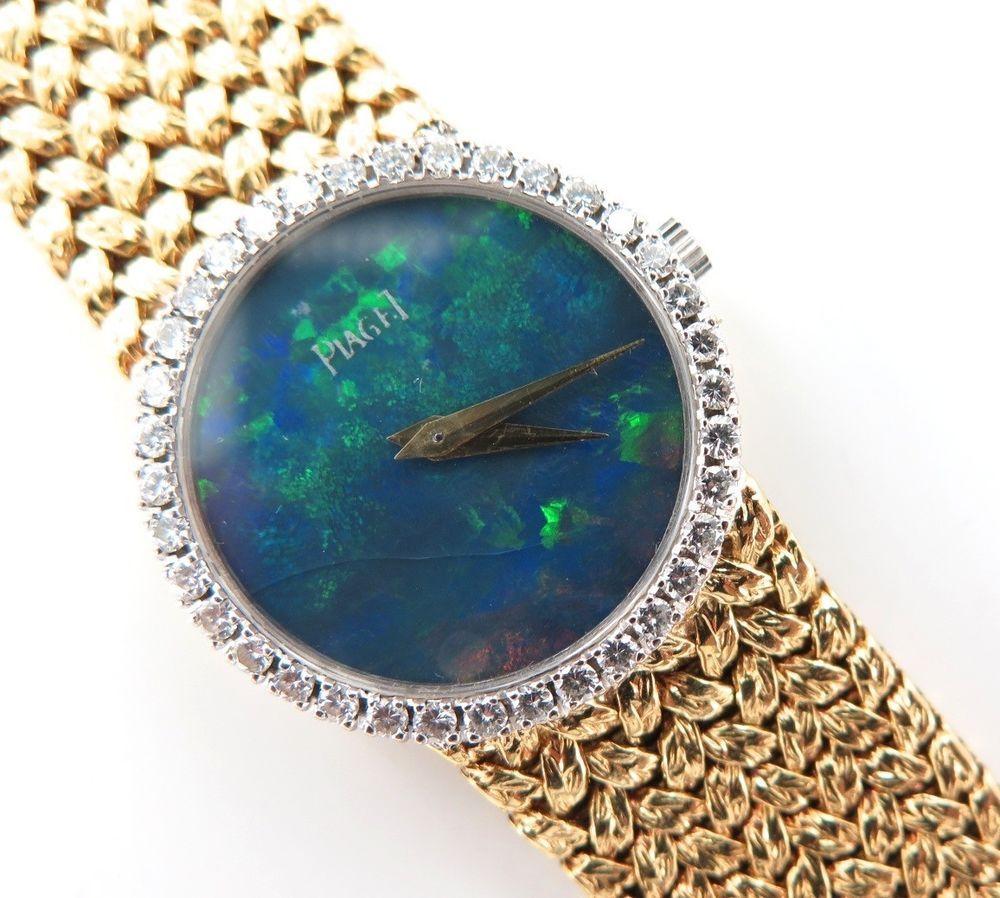 RARE PIAGET OPAL DIAL 18K GOLD WRIST WATCH -JUST SERVICED WITH DIAMOND BEZEL #Piaget