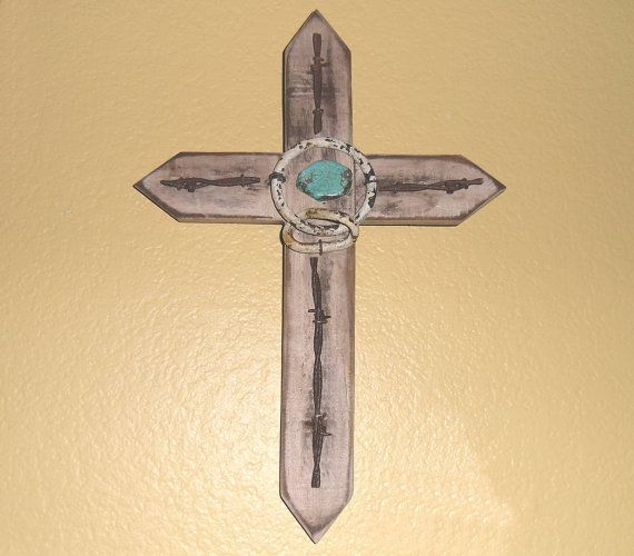 Handmade Barn Wood Wooden Cross Turquoise Stone Barbed Wire Western ...