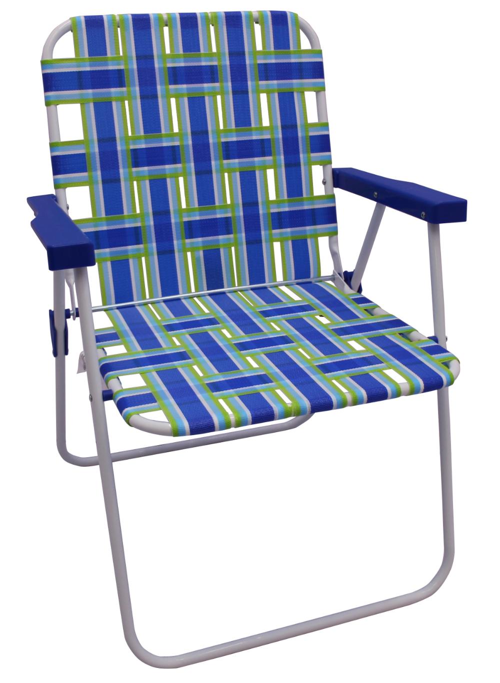 Mainstays Folding Blue & Green Stripe Beach Web Chair