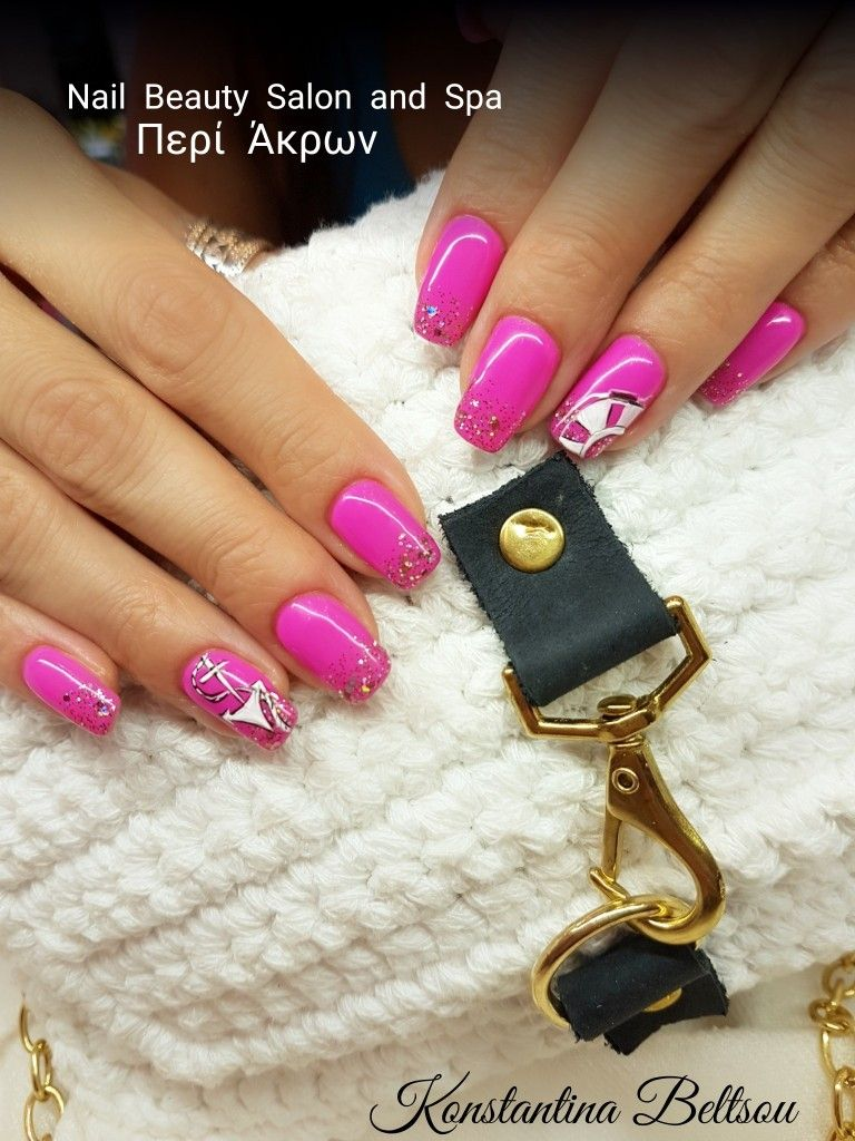 Long square Gel nails with gel polish and Glitter ombre style, nail ...