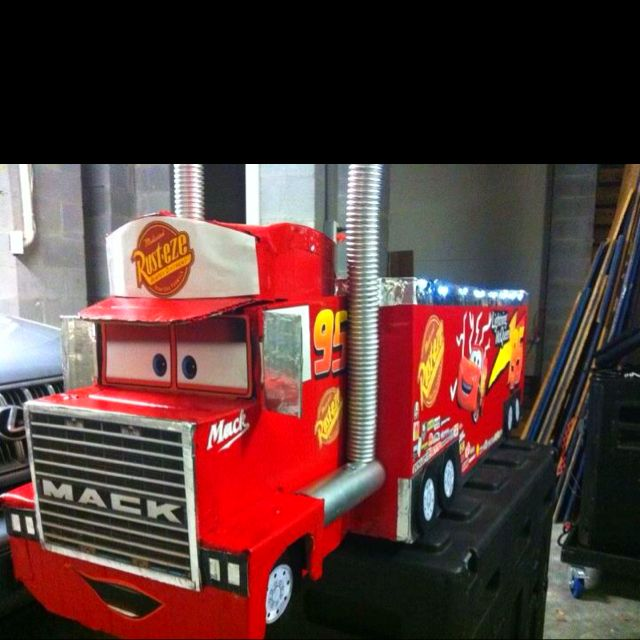 Mack From Cars Made From Cardboard Wyatt Would Love This Cars Birthday Party Disney Disney Cars Birthday Disney Cars Party