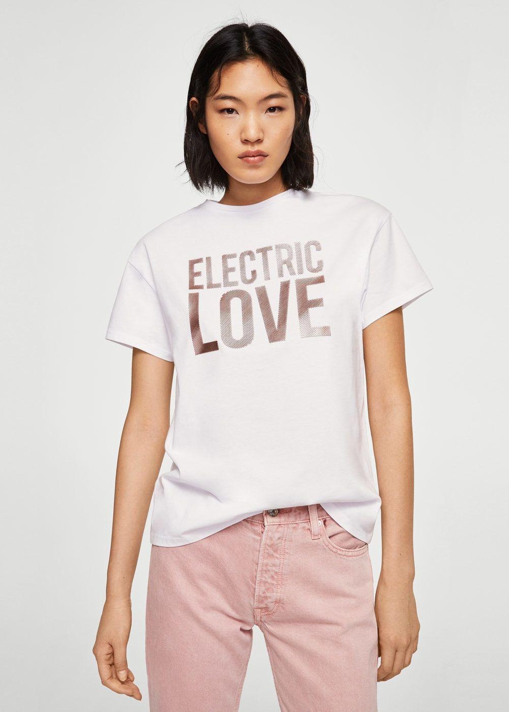 Mujer metalizada mensaje de Camisetas MNG Colombia tops y Camiseta wSYqvFx4v