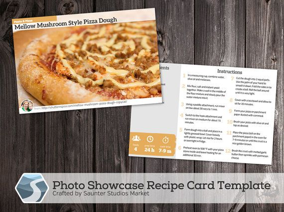 Showcase Photo Recipe Card 4x6 Printable Photoshop Template Etsy Recipe Cards Custom Recipe Recipes