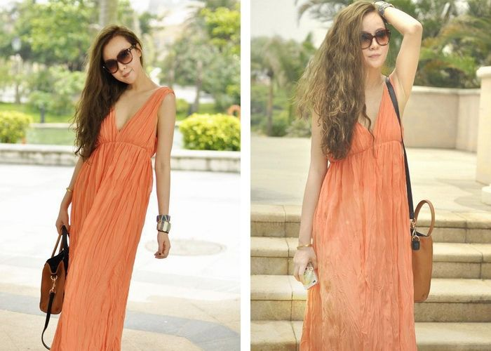Elegant Plunging Neck Ruffled and Backless Design Chiffon Dress For Women (ORANGE,M) China Wholesale - Sammydress.com