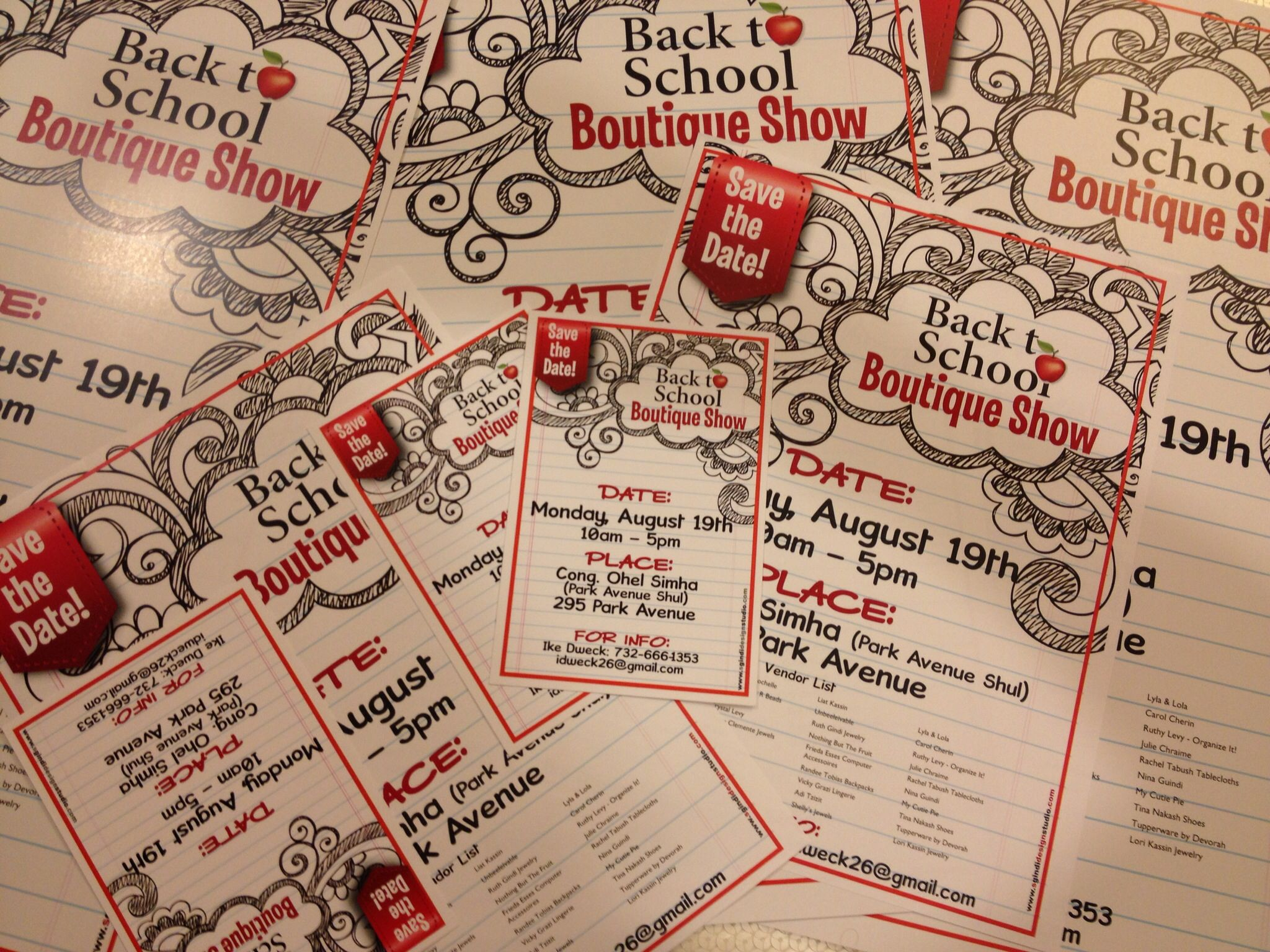 Postcards, flyers & posters designed for a Back to School boutique show