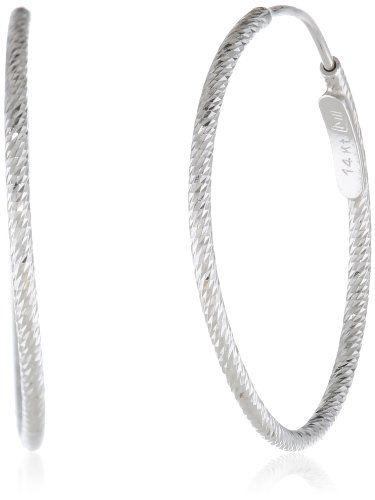 14k Italian Gold 20mm Diamond-Cut Hoop Earrings