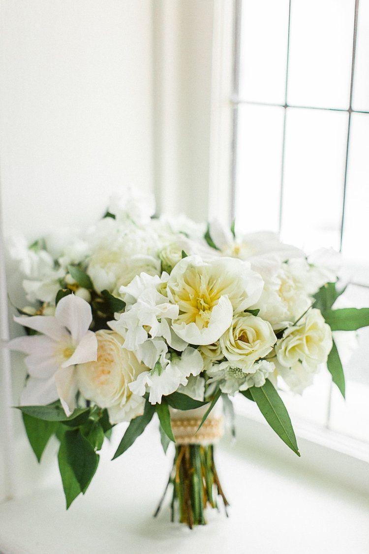 Beautiful all white wedding bouquet rhiannon bosse