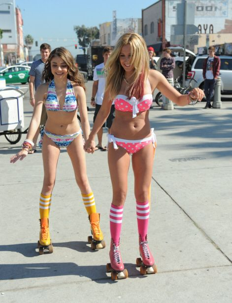 Ashley Tisdale And Sarah Hyland Roller Skate In Bikinis For Op Campaign