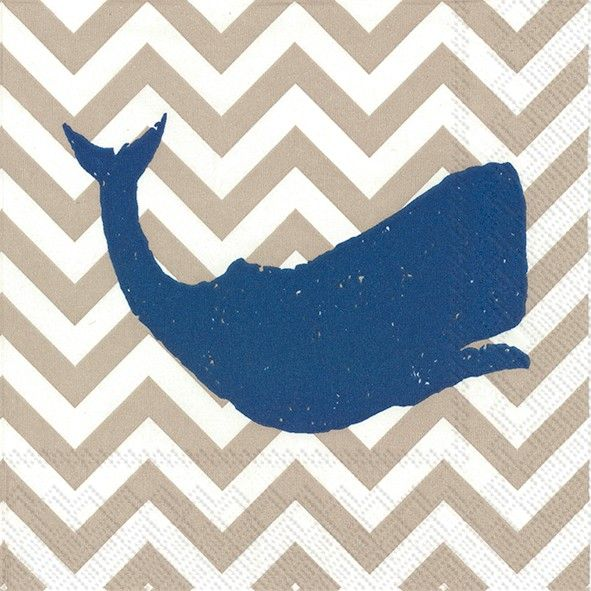 Inside A Tiny Florida Cottage Full Of Tropical Colors: IHR Yacht Club Whale Linen White Marine Life Chevron