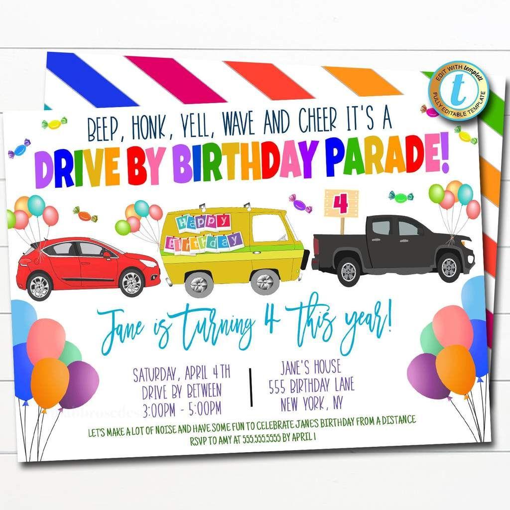 Drive By Birthday Parade Invitation DIY Editable