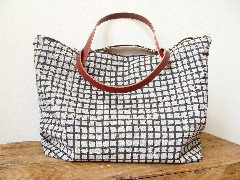 Linen Tote Bag Black Screen Print Grid Brown Leather