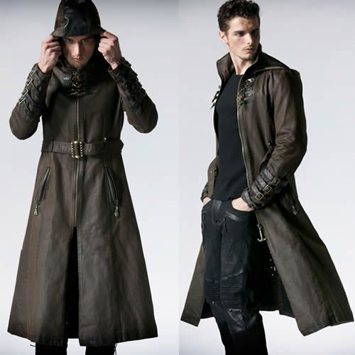 Men Brown Leather Hooded Steampunk Goth Military Trench ...
