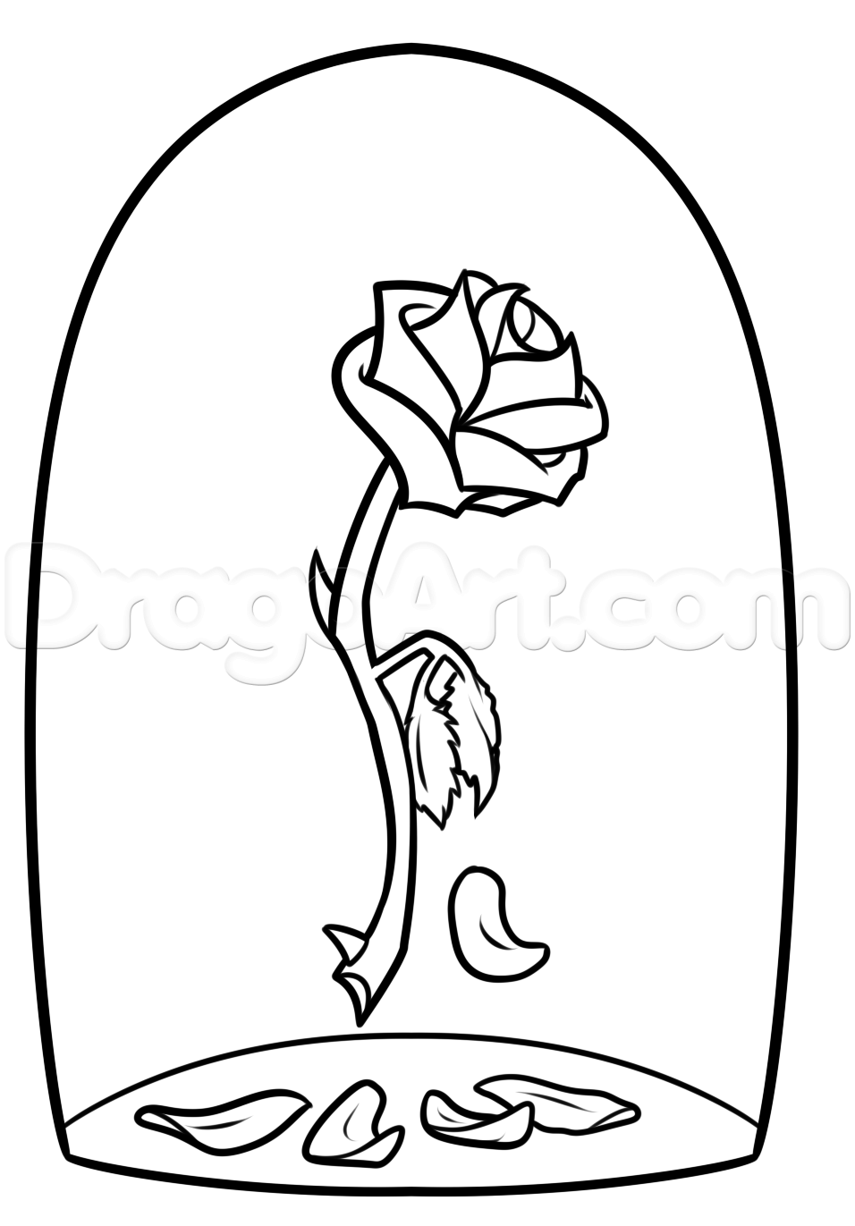 Beauty And The Beast Rose Drawing Step 7