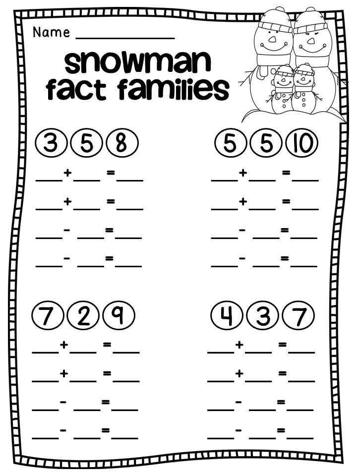 free snowman fact families math fact family worksheet elementary math math worksheets. Black Bedroom Furniture Sets. Home Design Ideas