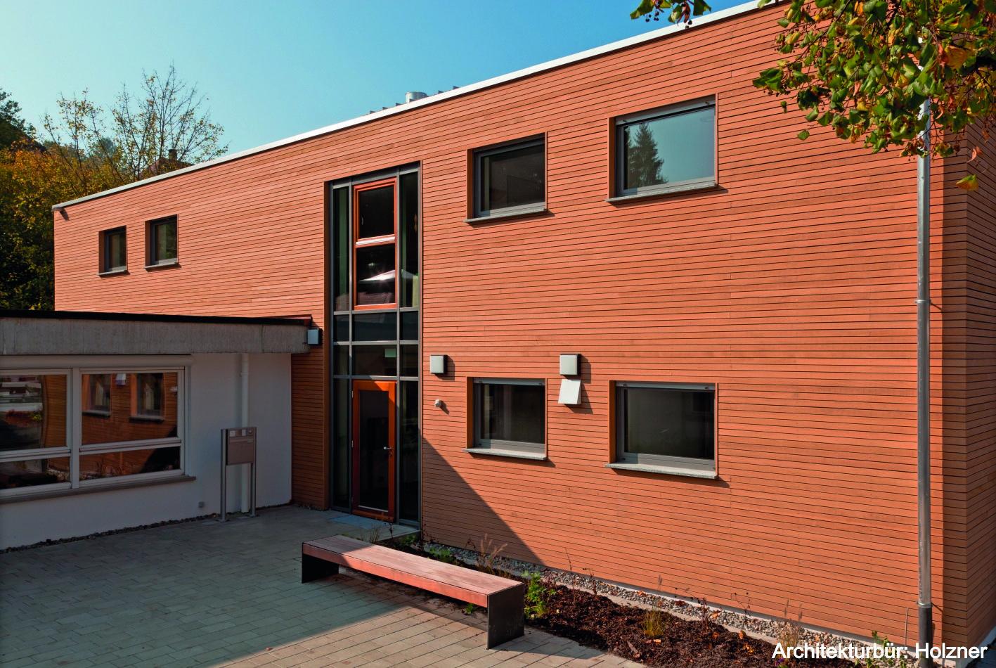 Architekten Ravensburg dura natur massivholzfassade rhombusleiste savanna weißtanne