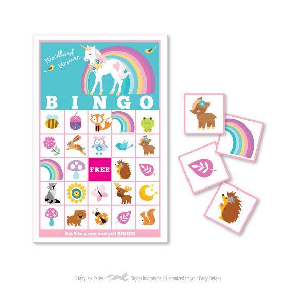 Woodland Unicorn Bingo Game Kid S Printable Bingo Game Unicorn Birthday Parties Unicorn Birthday Unicorn Party