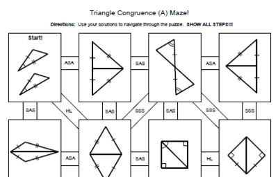 Free Congruent Triangle Worksheet Sss Sas Aas Triangle Congruence 4 Mazes Sss Sas Asa Aas Hl Fr Geometry Lessons Teaching Geometry Geometry Worksheets