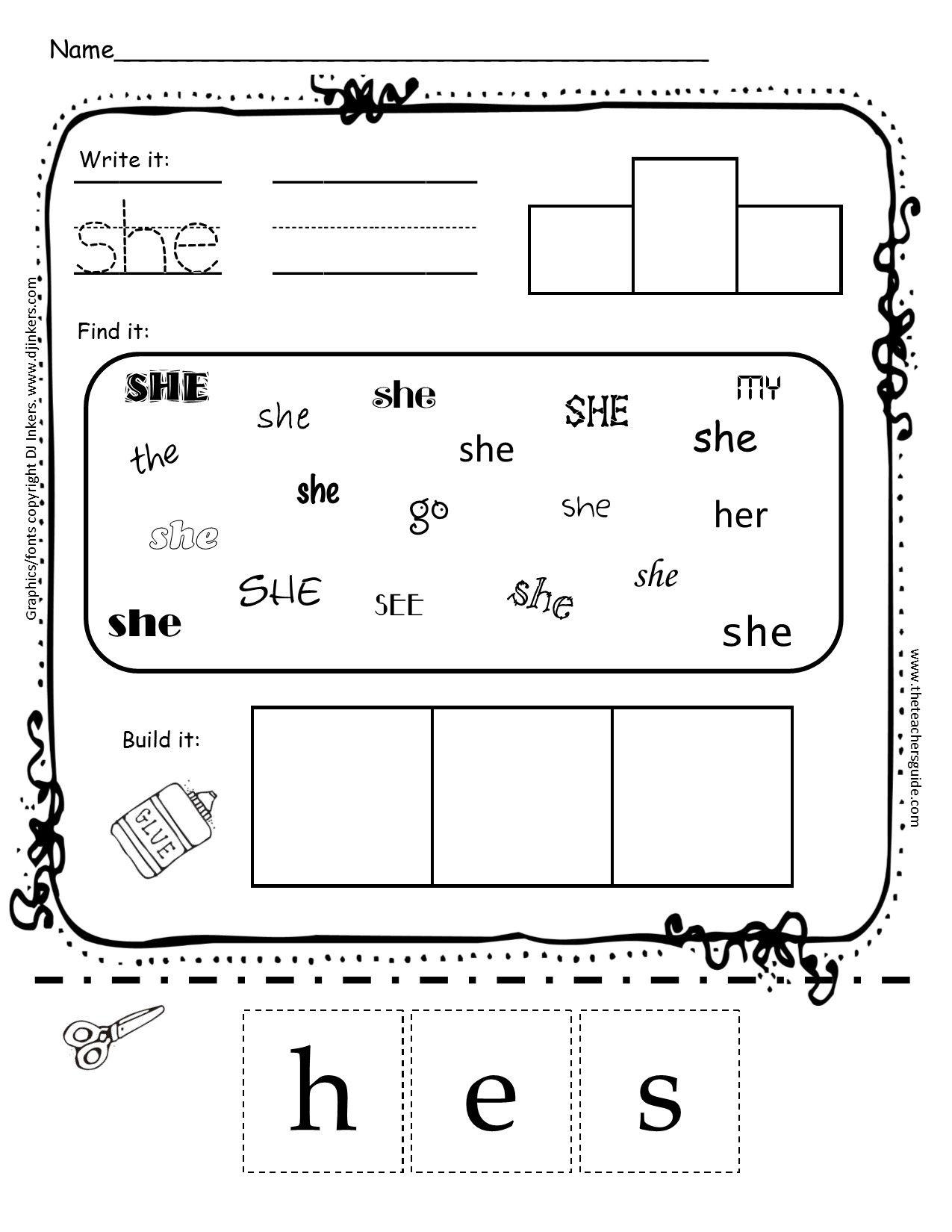 Kindergarten Sight Word Printouts From The Teachers Guide