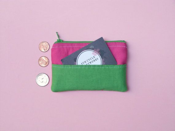 Bright pink & green coin purse  outer credit by 9thCycleCraftworks