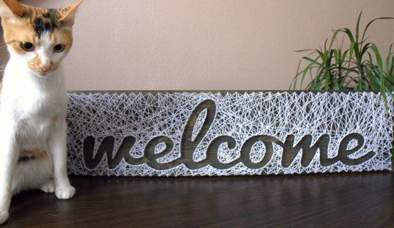 """String art Sign Welcome Customizable Wall hanging Wooden decoration 7,8"""" x 31,2"""""""