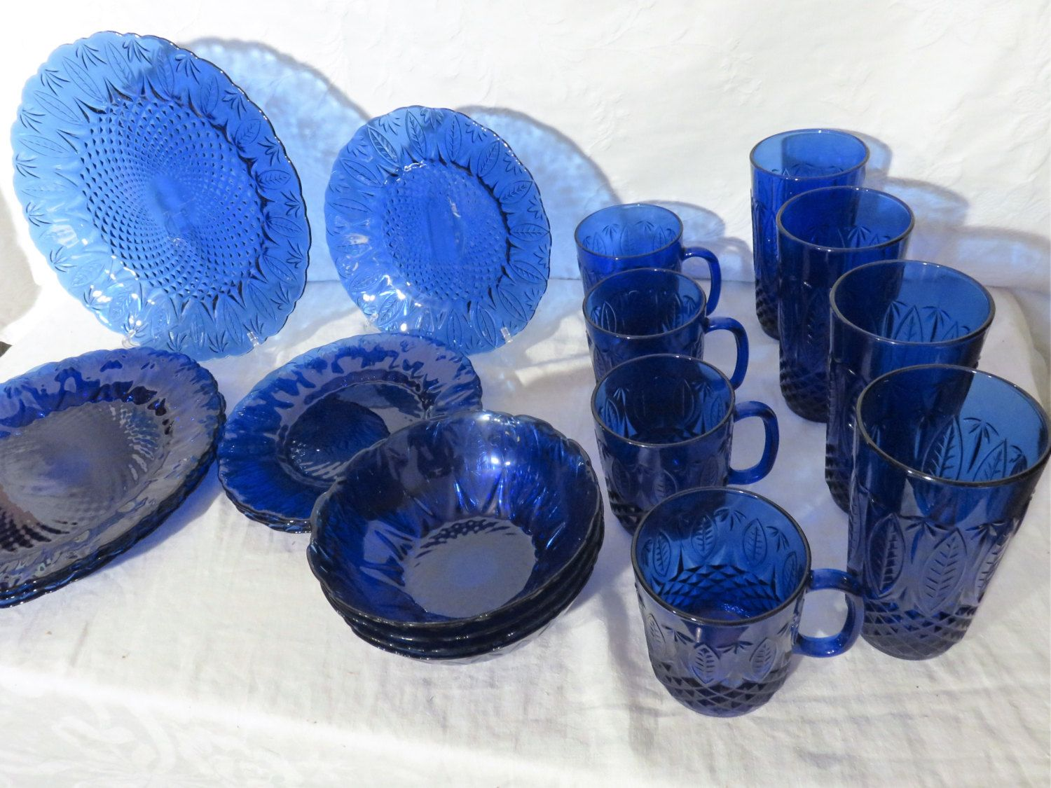 Avon Royal Sapphire Service For Four 20 Piece French Cobalt Blue