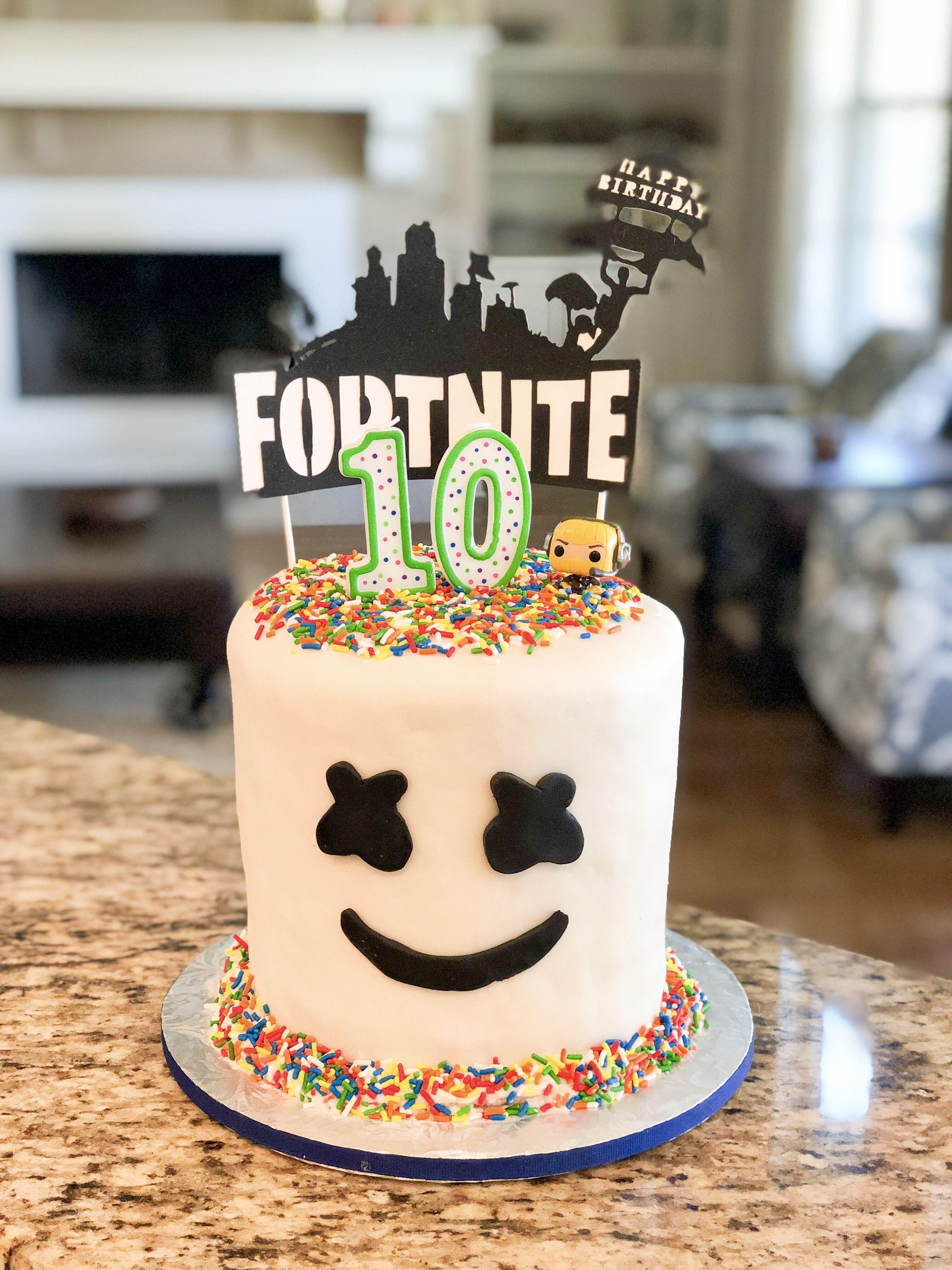 Fortnite Marshmello Birthday Cake  Birthday party cake, Boy
