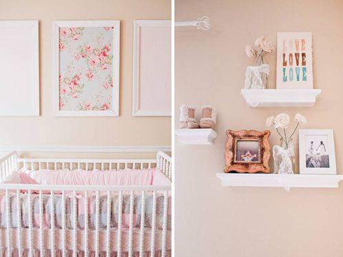 pink white elegant romantic shabby chic girl nursery fabric frames ...