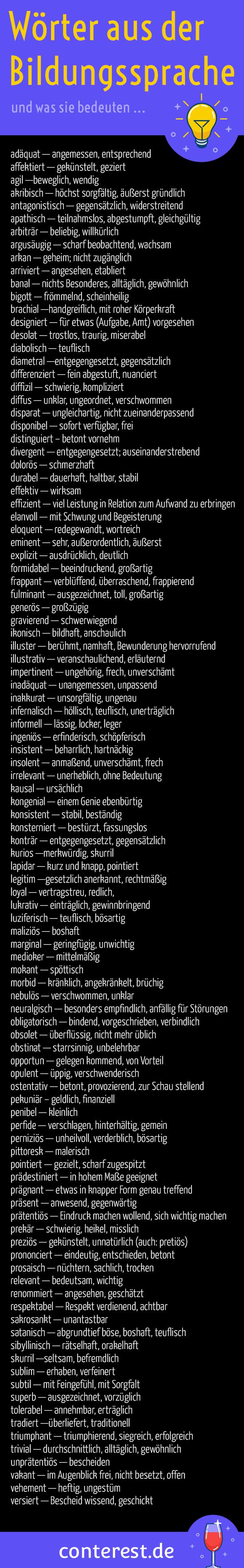 99 Wörter aus der Bildungssprache für spannendere Texte   Learn ...