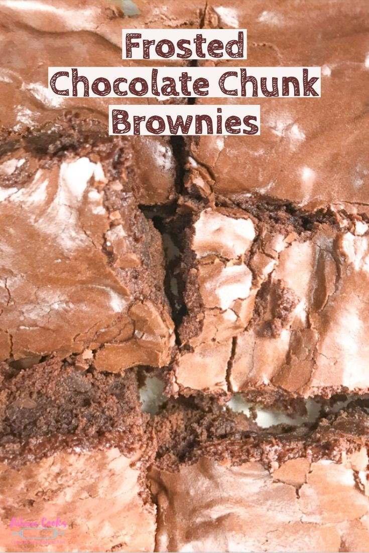 Frosted Chocolate Chunk Brownies Chocolate, on chocolate, on chocolate. These chocolate chunk brownies are cakey and sweet with the creamiest chocolate frosting on top.
