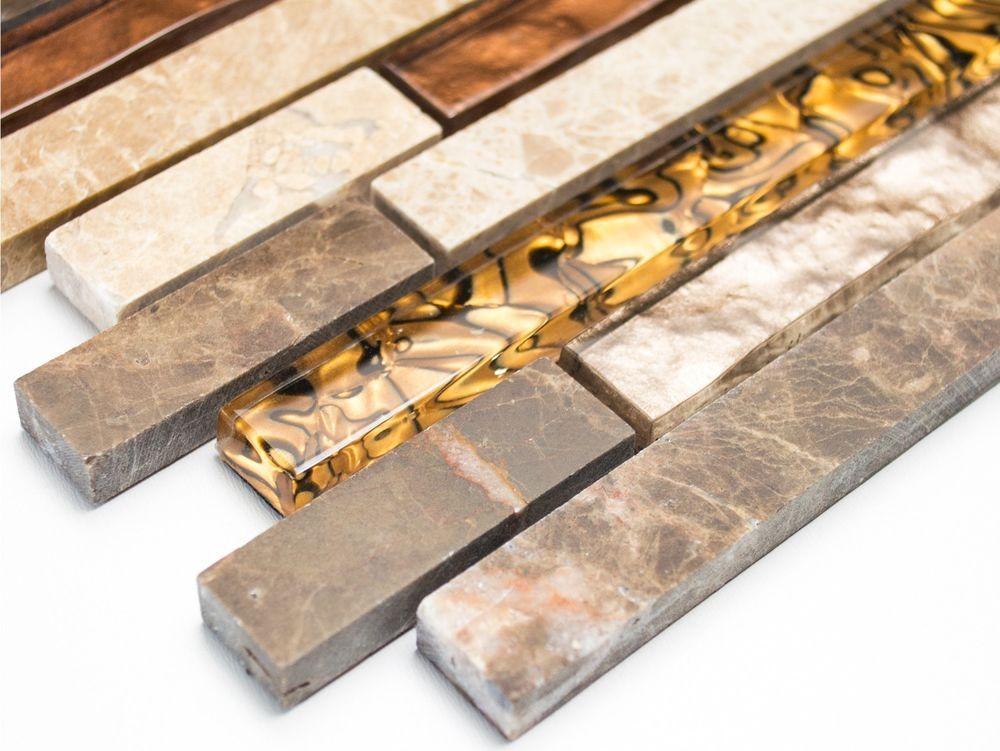 Mosaikfliese Verbund Marmor Mix Beige/braun Glas Naturstein Wand Art:  86 1302_b