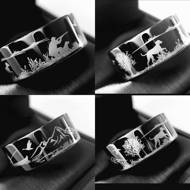 Duck Hunting Ring Fisherman Ring Duck Band Wedding Ring Black