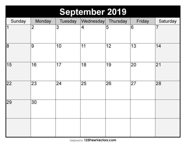 Blank September Calendar 2019 Free Vectors Pinterest Calendar