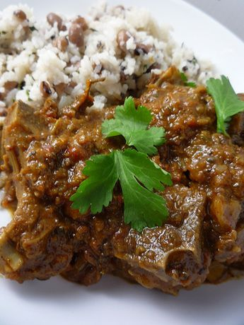 Curried Goat with Rice and Peas | entrees | Curry goat, Rice