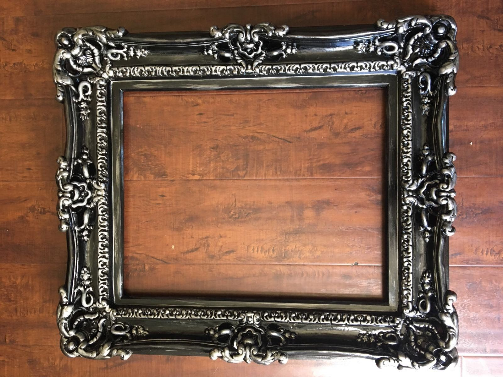 20x24 Large Picture Frame Black Silver Frames Shabby Chic Frame Ornate Wall Mirror Baroque Frame Wedding Gift Frames For Canvas Shabby Chic Frames Large Picture Frames Baroque Frames